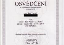 EPS - osvědčení BC216