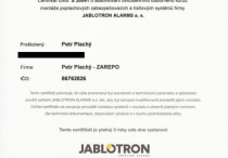 PZS - certifikát JABLOTRON