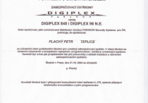 PZS - osvědčení PARADOX DIGIPLEX